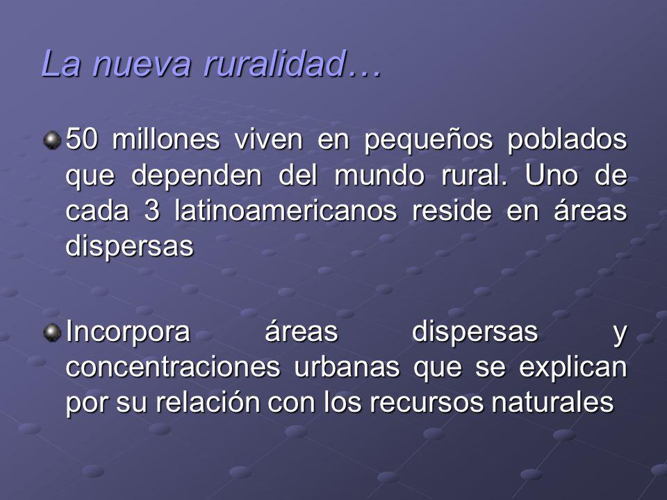 La nueva ruralidad… 50 millones viven en pequeños poblados que dependen del mundo rural. Uno de cada 3 latinoamericanos reside en áreas dispersas Inco