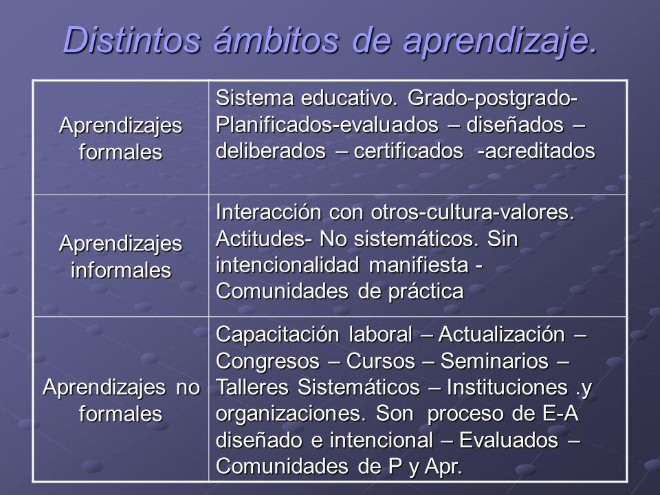 Distintos ámbitos de aprendizaje. Aprendizajes formales Sistema educativo. Grado-postgrado- Planificados-evaluados – diseñados – deliberados – certifi