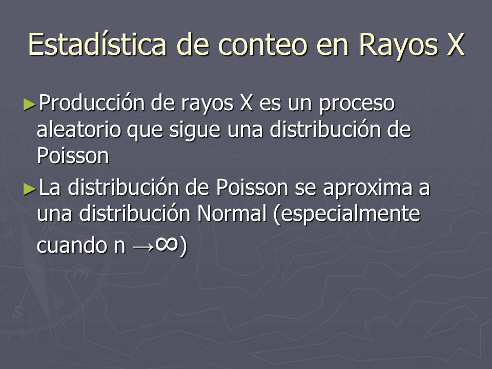 Estadística de conteo en Rayos X Producción de rayos X es un proceso aleatorio que sigue una distribución de Poisson Producción de rayos X es un proceso aleatorio que sigue una distribución de Poisson La distribución de Poisson se aproxima a una distribución Normal (especialmente cuando n ) La distribución de Poisson se aproxima a una distribución Normal (especialmente cuando n )