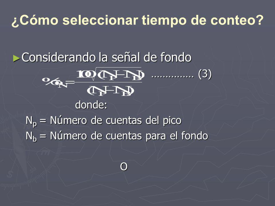 Considerando la señal de fondo Considerando la señal de fondo …………… (3) …………… (3) donde: donde: N p = Número de cuentas del pico N b = Número de cuentas para el fondo O ¿Cómo seleccionar tiempo de conteo?