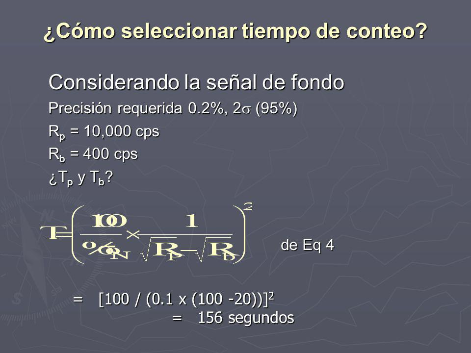 Considerando la señal de fondo Precisión requerida 0.2%, 2 (95%) R p = 10,000 cps R b = 400 cps ¿T p y T b .