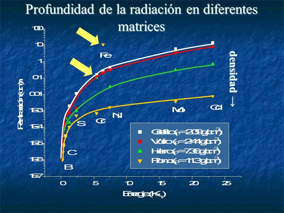 Profundidad de la radiación en diferentes matrices densidad densidad