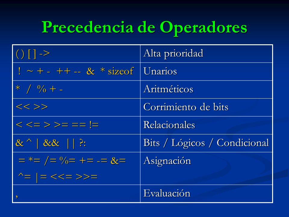 Precedencia de Operadores ( ) [ ] -> Alta prioridad ! ~ + - ++ -- & * sizeof ! ~ + - ++ -- & * sizeofUnarios * / % + - Aritméticos > > Corrimiento de
