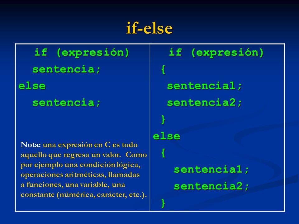 if-else if (expresión) sentencia; sentencia;else if (expresión) { sentencia1; sentencia1; sentencia2; sentencia2; }else { sentencia1; sentencia1; sent