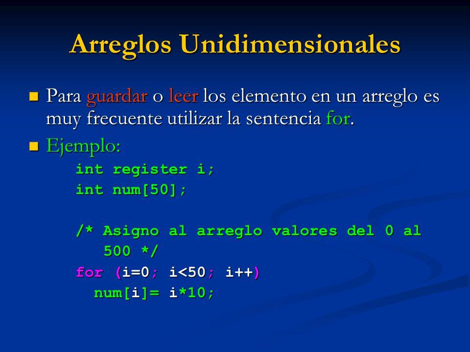 Arreglos Unidimensionales Para guardar o leer los elemento en un arreglo es muy frecuente utilizar la sentencia for. Para guardar o leer los elemento