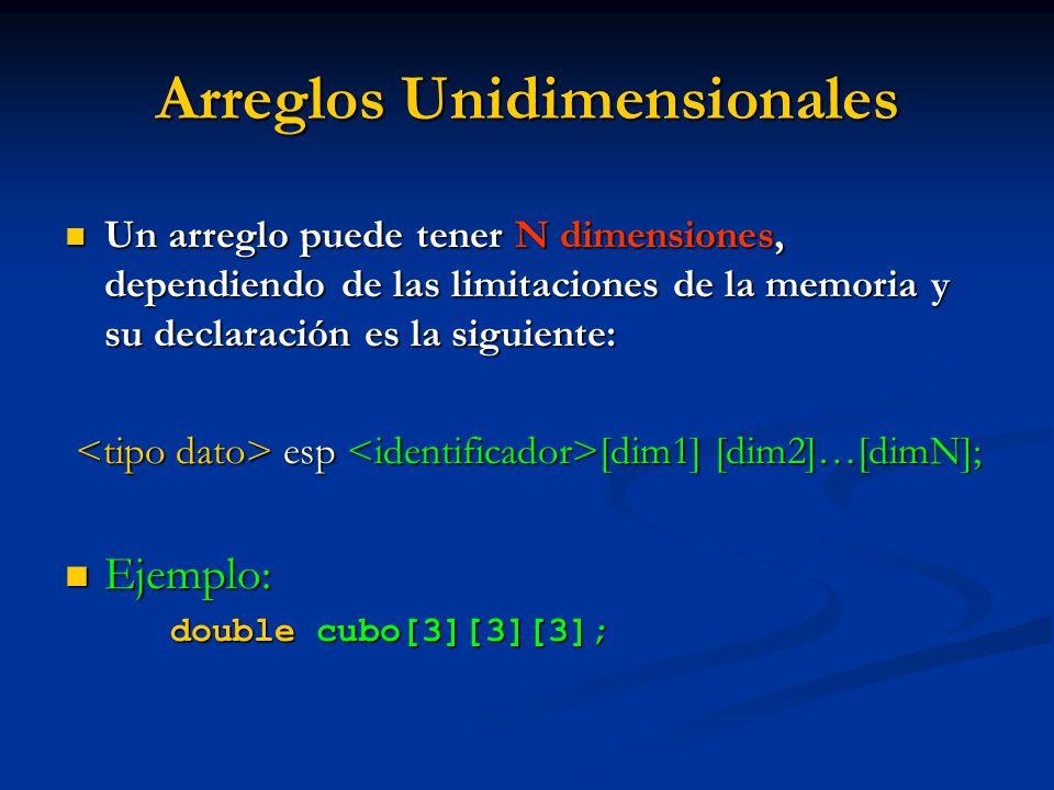 Arreglos Unidimensionales Un arreglo puede tener N dimensiones, dependiendo de las limitaciones de la memoria y su declaración es la siguiente: Un arr