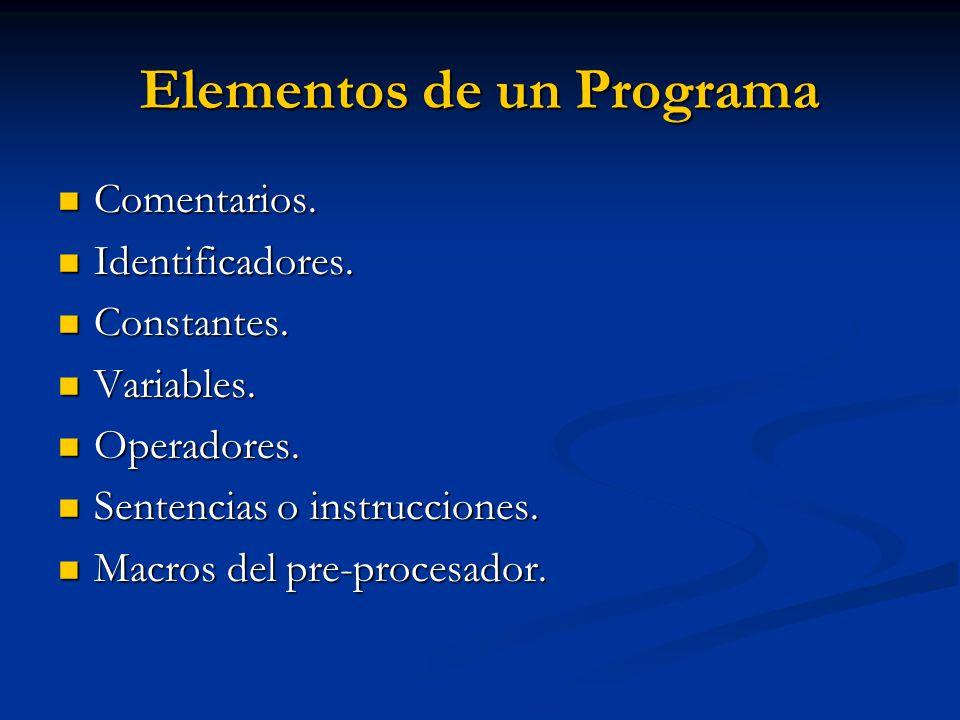 Elementos de un Programa Comentarios. Comentarios. Identificadores. Identificadores. Constantes. Constantes. Variables. Variables. Operadores. Operado
