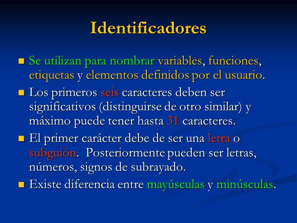 Identificadores Se utilizan para nombrar variables, funciones, etiquetas y elementos definidos por el usuario. Se utilizan para nombrar variables, fun