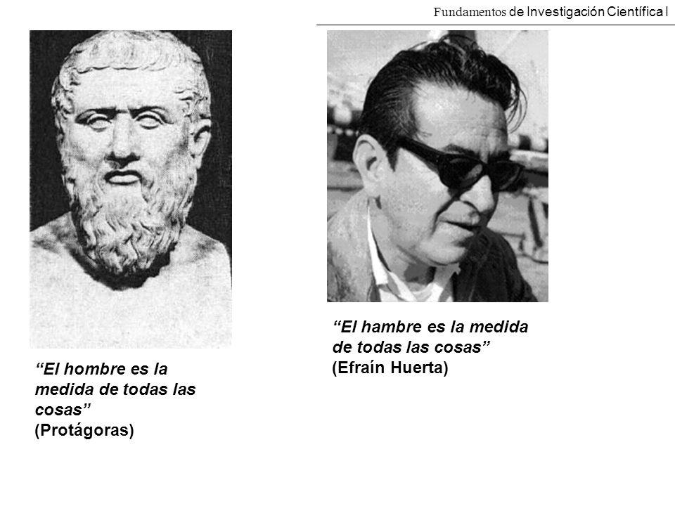 El hombre es la medida de todas las cosas (Protágoras) El hambre es la medida de todas las cosas (Efraín Huerta) Fundamentos de Investigación Científi