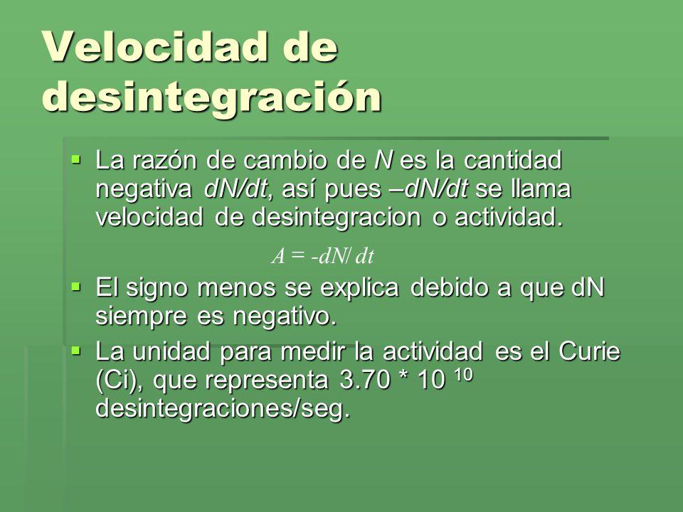 Velocidad de desintegración La razón de cambio de N es la cantidad negativa dN/dt, así pues –dN/dt se llama velocidad de desintegracion o actividad. L