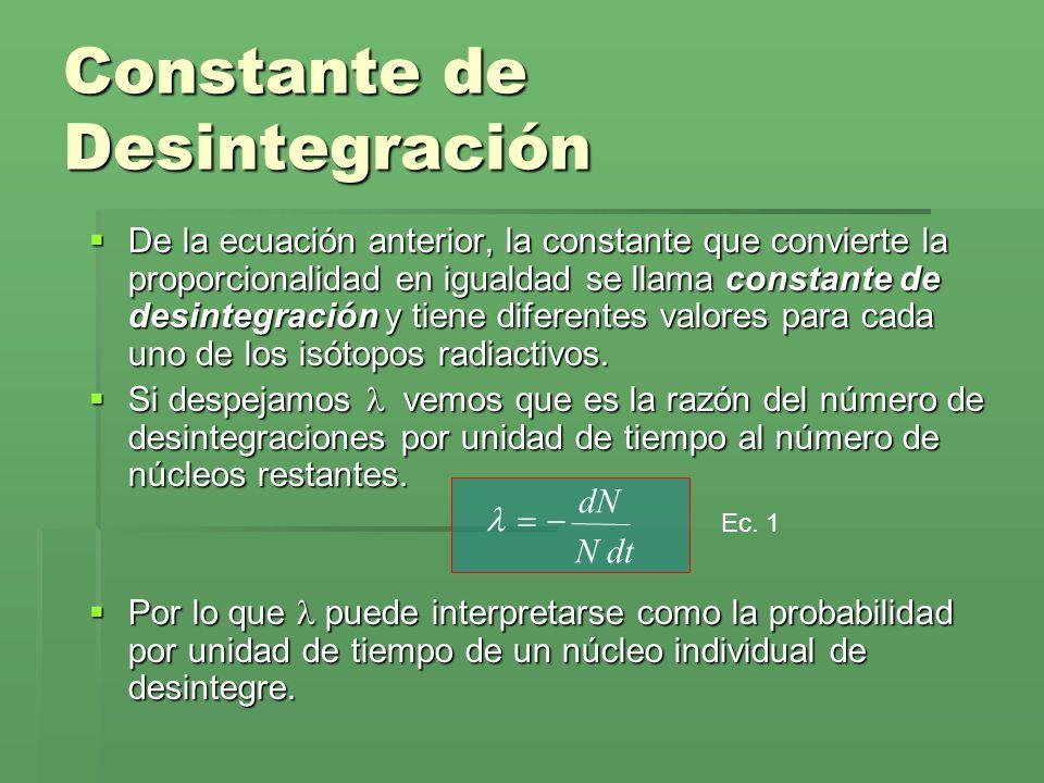 De la ecuación anterior, la constante que convierte la proporcionalidad en igualdad se llama constante de desintegración y tiene diferentes valores pa