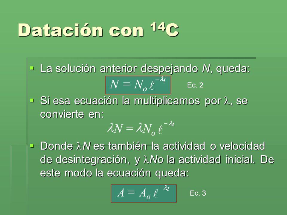 La solución anterior despejando N, queda: La solución anterior despejando N, queda: Si esa ecuación la multiplicamos por, se convierte en: Si esa ecua