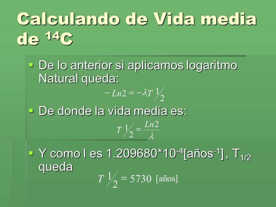 Calculando de Vida media de 14 C De lo anterior si aplicamos logaritmo Natural queda: De lo anterior si aplicamos logaritmo Natural queda: De donde la