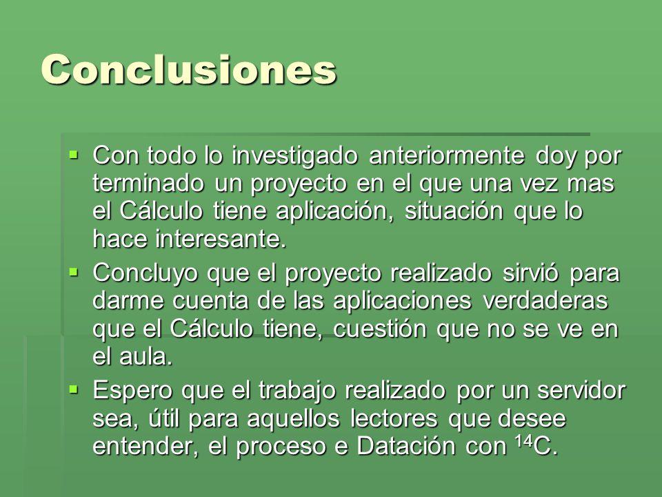 Conclusiones Con todo lo investigado anteriormente doy por terminado un proyecto en el que una vez mas el Cálculo tiene aplicación, situación que lo h