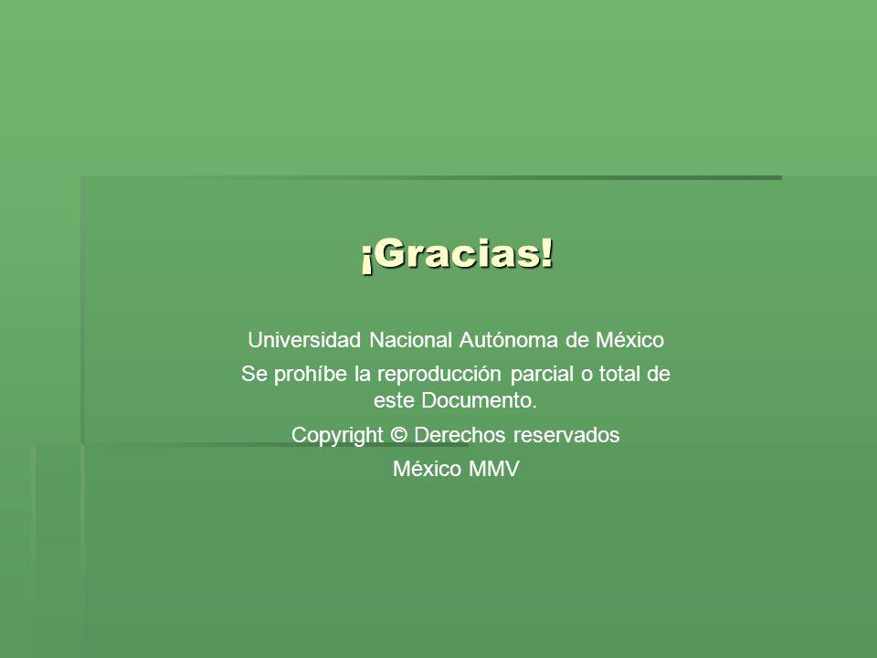 ¡Gracias! Universidad Nacional Autónoma de México Se prohíbe la reproducción parcial o total de este Documento. Copyright © Derechos reservados México
