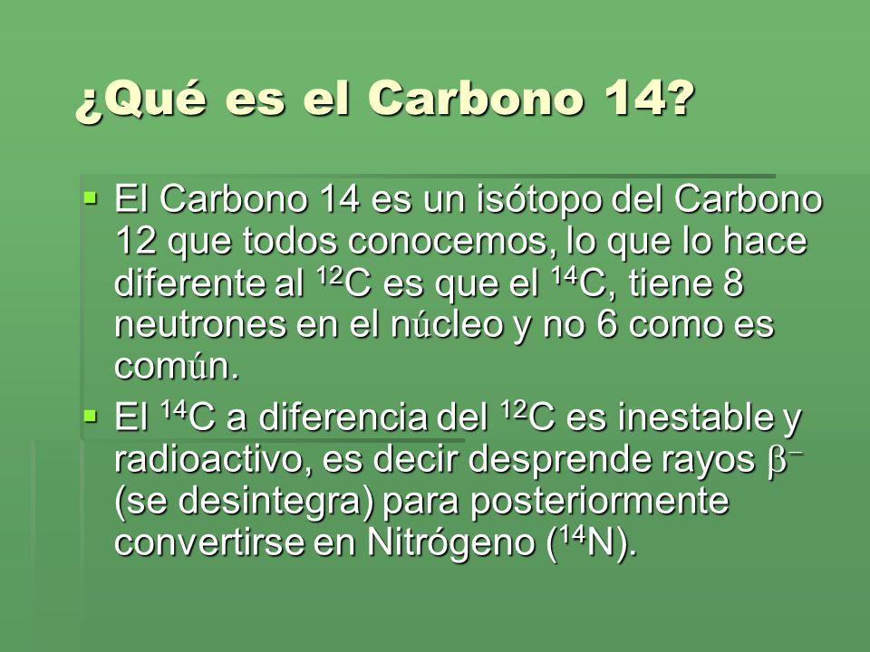 ¿Qué es el Carbono 14? El Carbono 14 es un isótopo del Carbono 12 que todos conocemos, lo que lo hace diferente al 12 C es que el 14 C, tiene 8 neutro