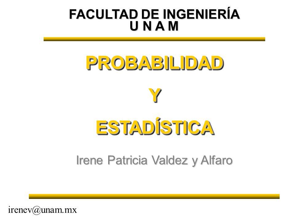 FACULTAD DE INGENIERÍA PROBABILIDADYESTADÍSTICAPROBABILIDADYESTADÍSTICA Irene Patricia Valdez y Alfaro irenev@unam.mx U N A M
