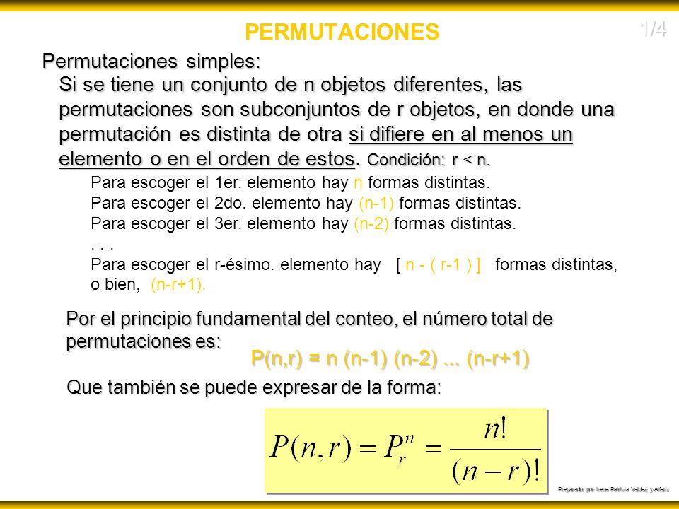 Preparado por Irene Patricia Valdez y Alfaro PERMUTACIONES Si se tiene un conjunto de n objetos diferentes, las permutaciones son subconjuntos de r ob