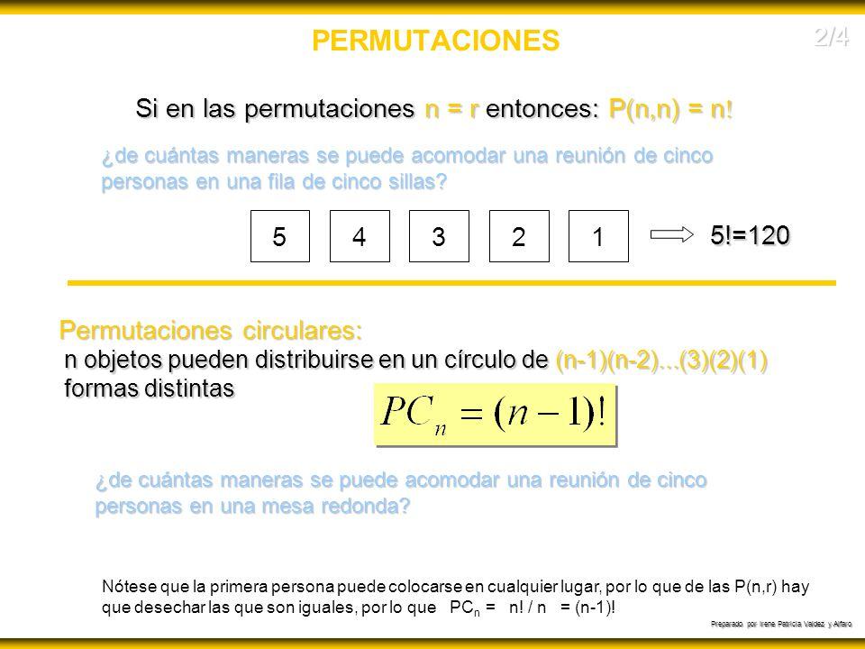 Preparado por Irene Patricia Valdez y Alfaro PERMUTACIONES Si en las permutaciones n = r entonces: P(n,n) = n ! ¿de cuántas maneras se puede acomodar