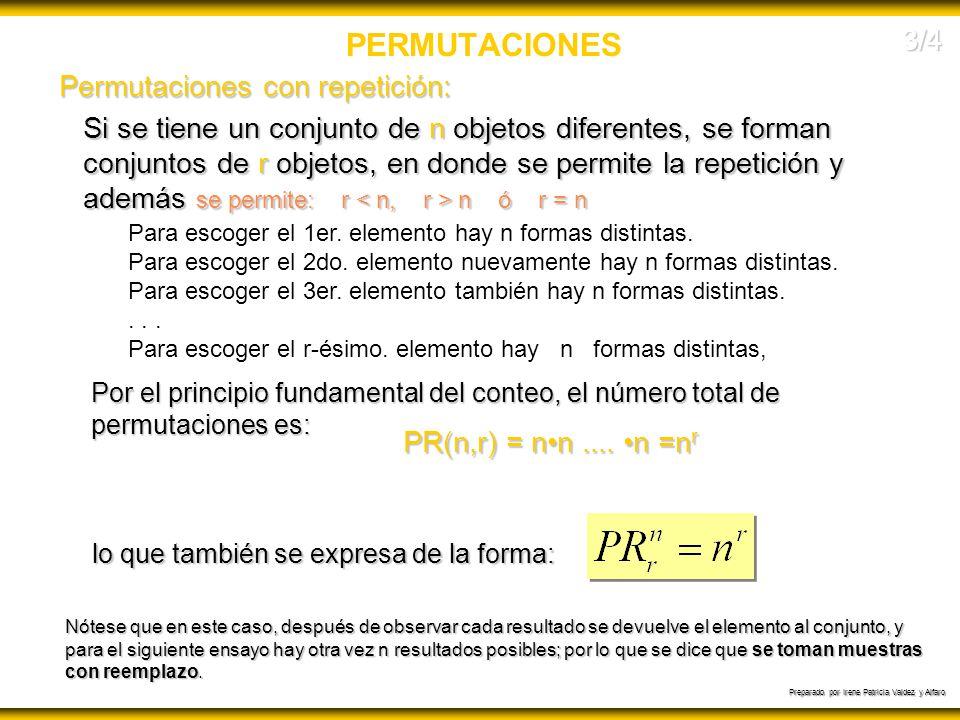 Preparado por Irene Patricia Valdez y Alfaro PERMUTACIONES Si se tiene un conjunto de n objetos diferentes, se forman conjuntos de r objetos, en donde