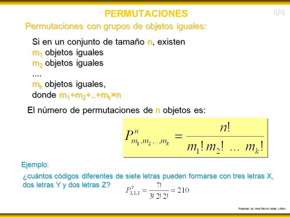 Preparado por Irene Patricia Valdez y Alfaro PERMUTACIONES Permutaciones con grupos de objetos iguales: Si en un conjunto de tamaño n, existen m 1 obj