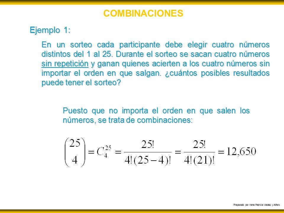 Preparado por Irene Patricia Valdez y Alfaro COMBINACIONES Ejemplo 1: En un sorteo cada participante debe elegir cuatro números distintos del 1 al 25.
