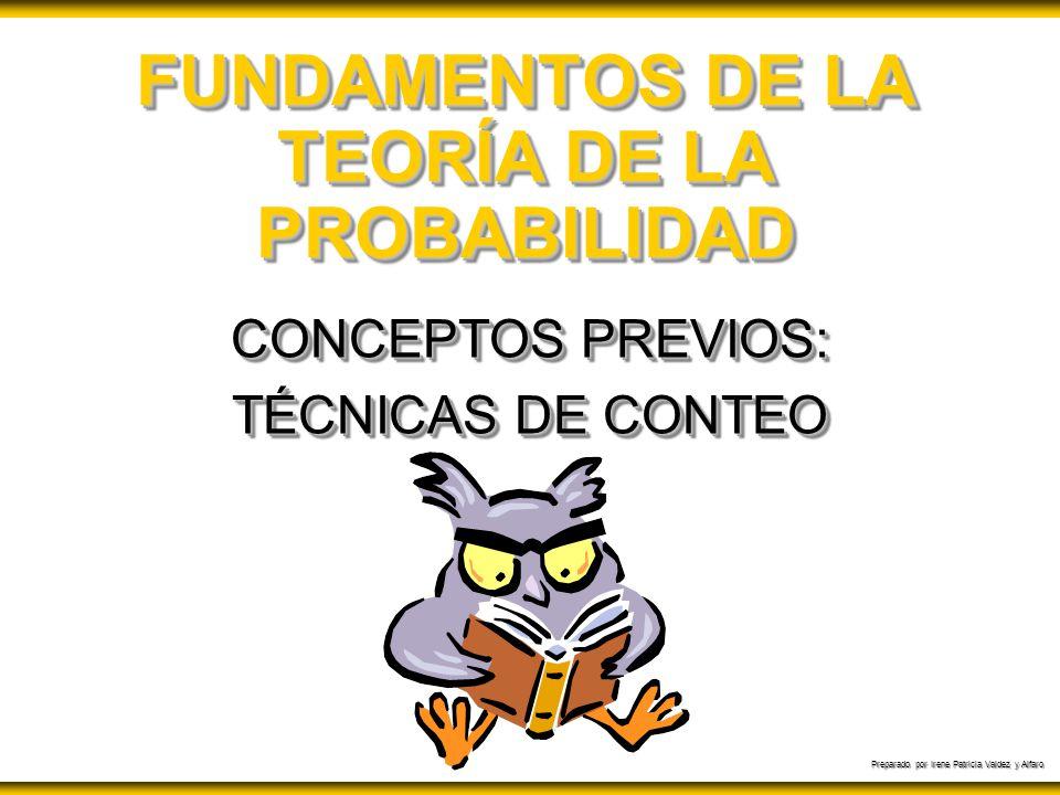 Preparado por Irene Patricia Valdez y Alfaro FUNDAMENTOS DE LA TEORÍA DE LA PROBABILIDAD CONCEPTOS PREVIOS: TÉCNICAS DE CONTEO CONCEPTOS PREVIOS: TÉCN