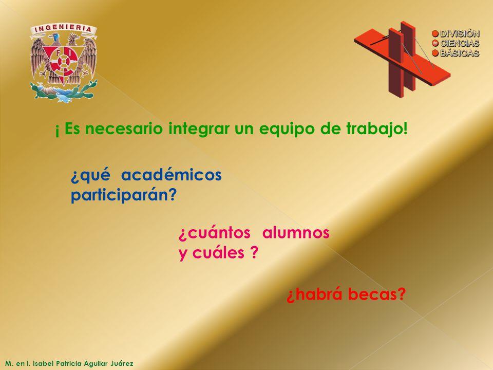 M. en I. Isabel Patricia Aguilar Juárez ¡ Es necesario integrar un equipo de trabajo! ¿qué académicos participarán? ¿cuántos alumnos y cuáles ? ¿habrá