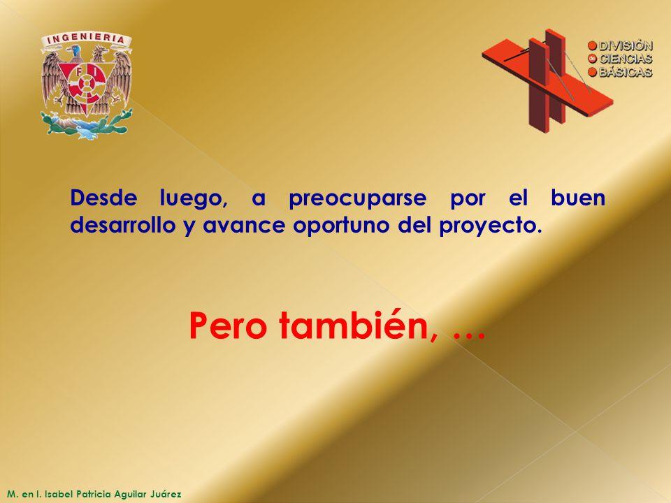 M. en I. Isabel Patricia Aguilar Juárez Desde luego, a preocuparse por el buen desarrollo y avance oportuno del proyecto. Pero también, …