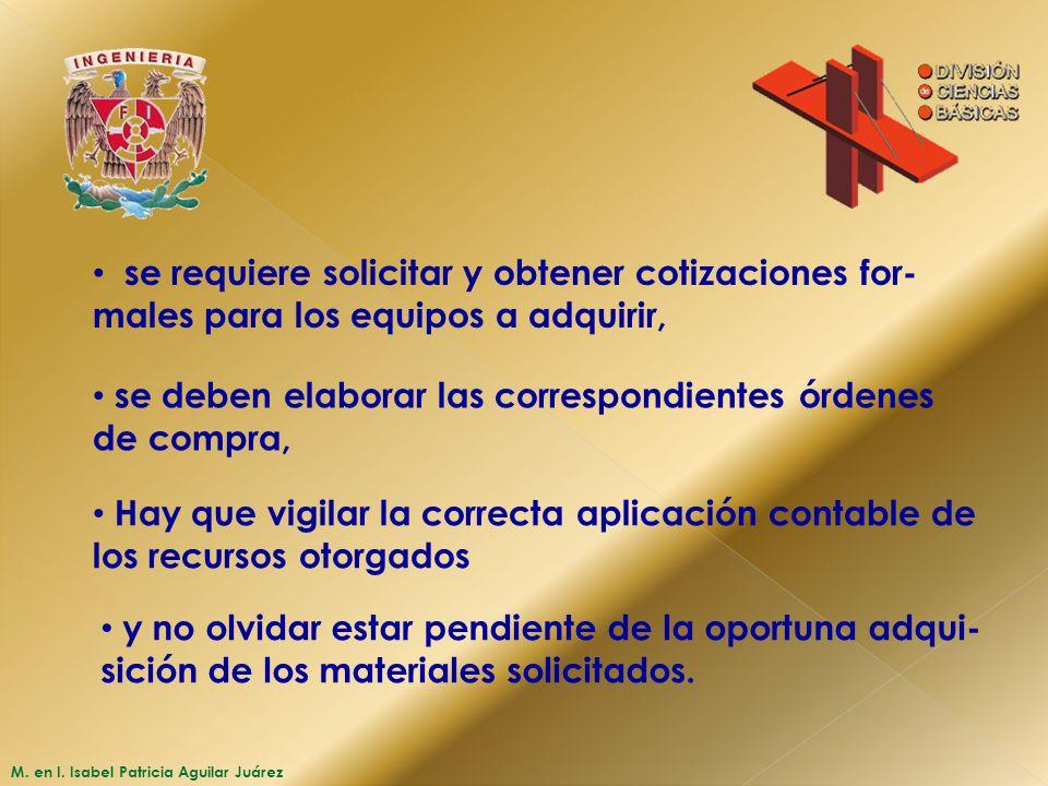 M. en I. Isabel Patricia Aguilar Juárez se requiere solicitar y obtener cotizaciones for- males para los equipos a adquirir, se deben elaborar las cor