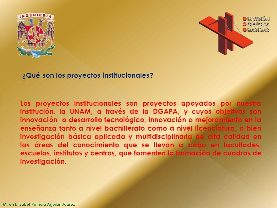 ¿Qué son los proyectos institucionales? Los proyectos institucionales son proyectos apoyados por nuestra institución, la UNAM, a través de la DGAPA, y