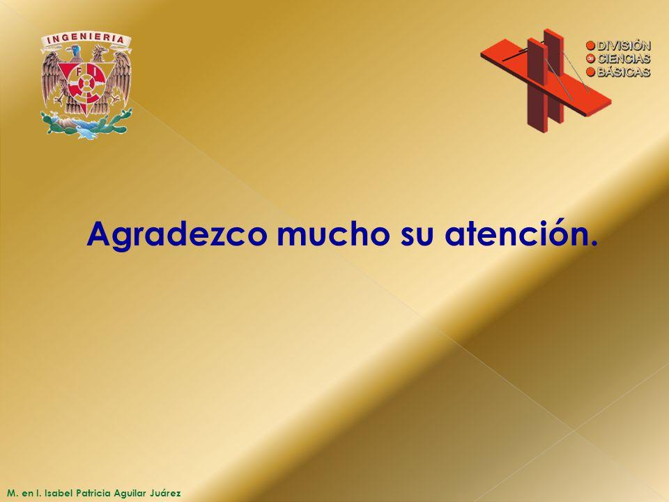 M. en I. Isabel Patricia Aguilar Juárez Agradezco mucho su atención.
