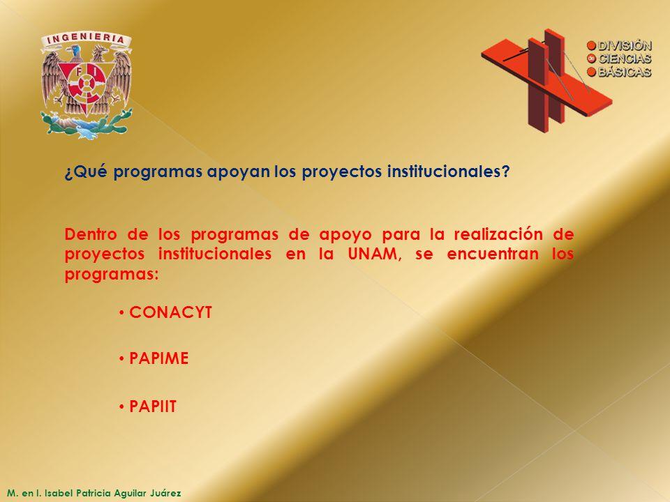 M. en I. Isabel Patricia Aguilar Juárez ¿Qué programas apoyan los proyectos institucionales? CONACYT Dentro de los programas de apoyo para la realizac