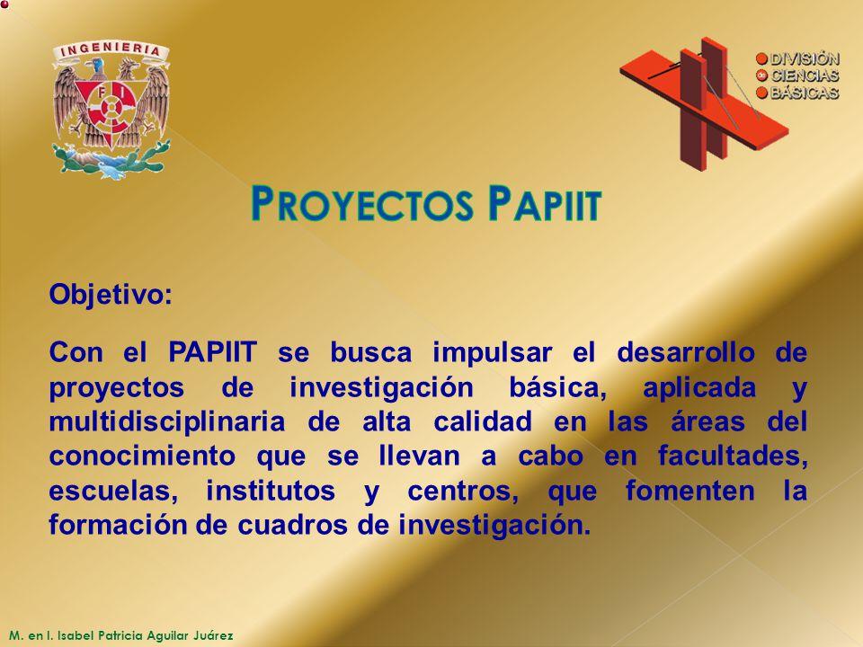 M. en I. Isabel Patricia Aguilar Juárez Objetivo: Con el PAPIIT se busca impulsar el desarrollo de proyectos de investigación básica, aplicada y multi
