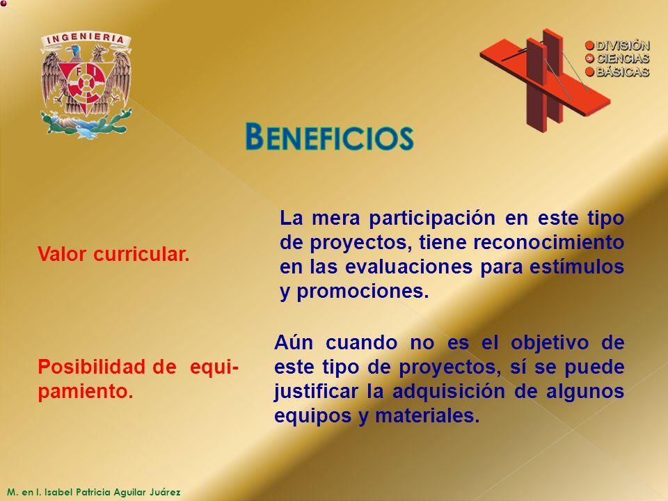 M. en I. Isabel Patricia Aguilar Juárez Valor curricular. La mera participación en este tipo de proyectos, tiene reconocimiento en las evaluaciones pa