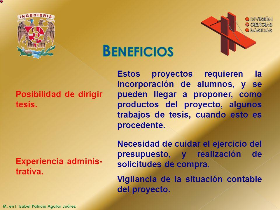 M. en I. Isabel Patricia Aguilar Juárez Posibilidad de dirigir tesis. Estos proyectos requieren la incorporación de alumnos, y se pueden llegar a prop