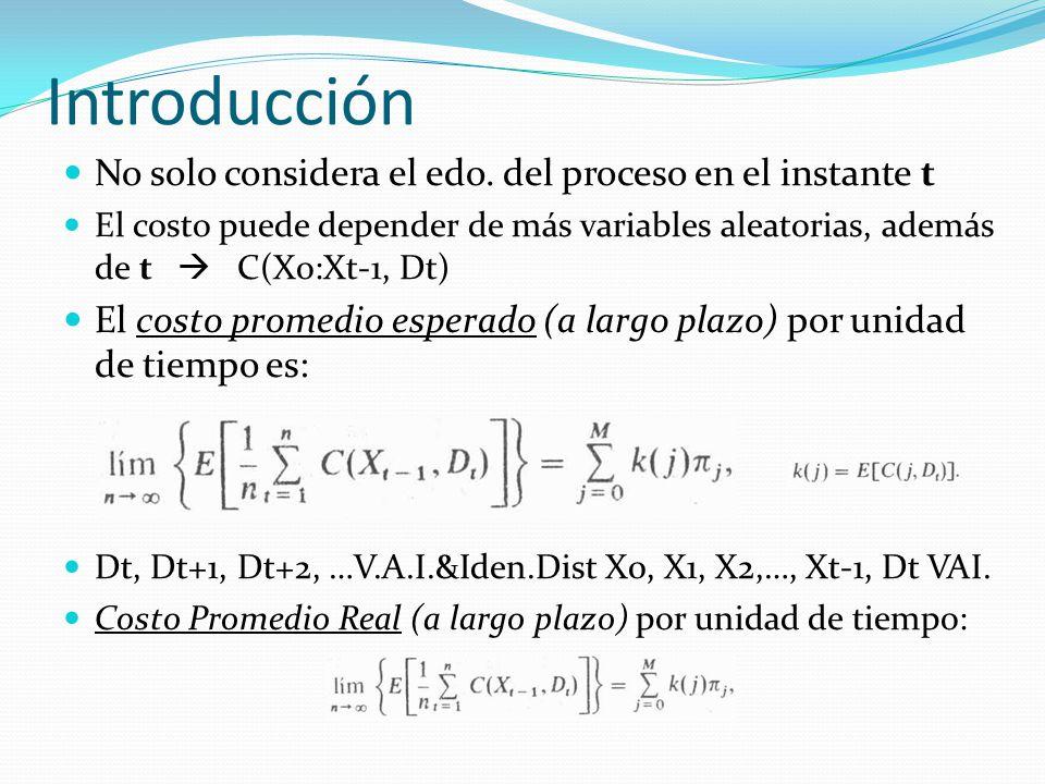 Introducción No solo considera el edo. del proceso en el instante t El costo puede depender de más variables aleatorias, además de t C(Xo:Xt-1, Dt) El