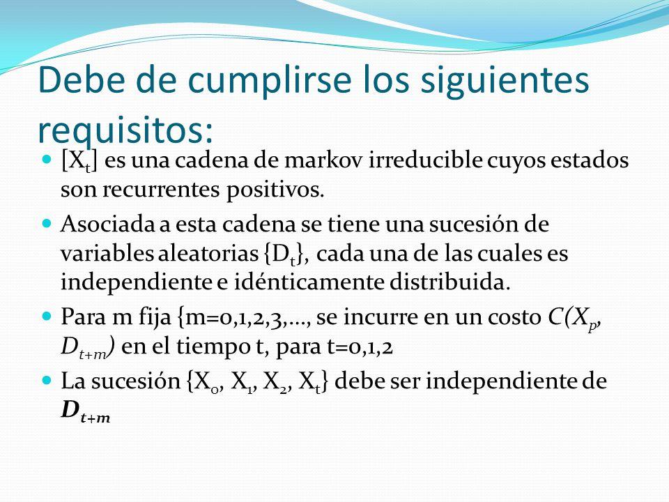 Debe de cumplirse los siguientes requisitos: [X t ] es una cadena de markov irreducible cuyos estados son recurrentes positivos.