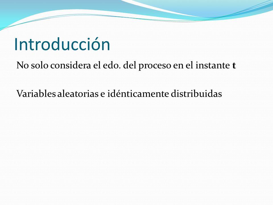 Introducción No solo considera el edo. del proceso en el instante t Variables aleatorias e idénticamente distribuidas