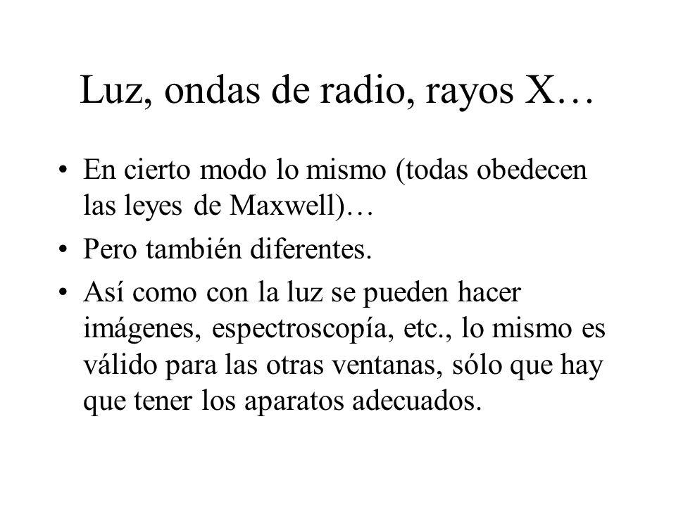 Luz, ondas de radio, rayos X… En cierto modo lo mismo (todas obedecen las leyes de Maxwell)… Pero también diferentes.