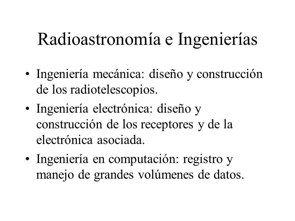 Radioastronomía e Ingenierías Ingeniería mecánica: diseño y construcción de los radiotelescopios.