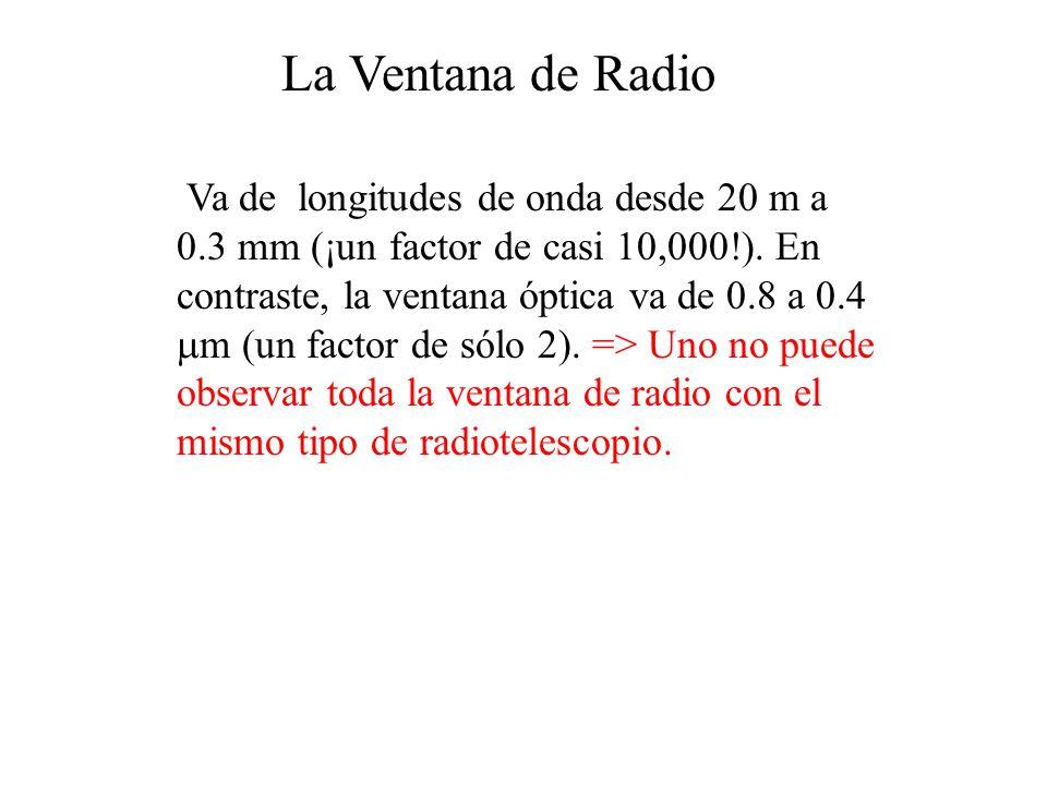 La Ventana de Radio Va de longitudes de onda desde 20 m a 0.3 mm (¡un factor de casi 10,000!).