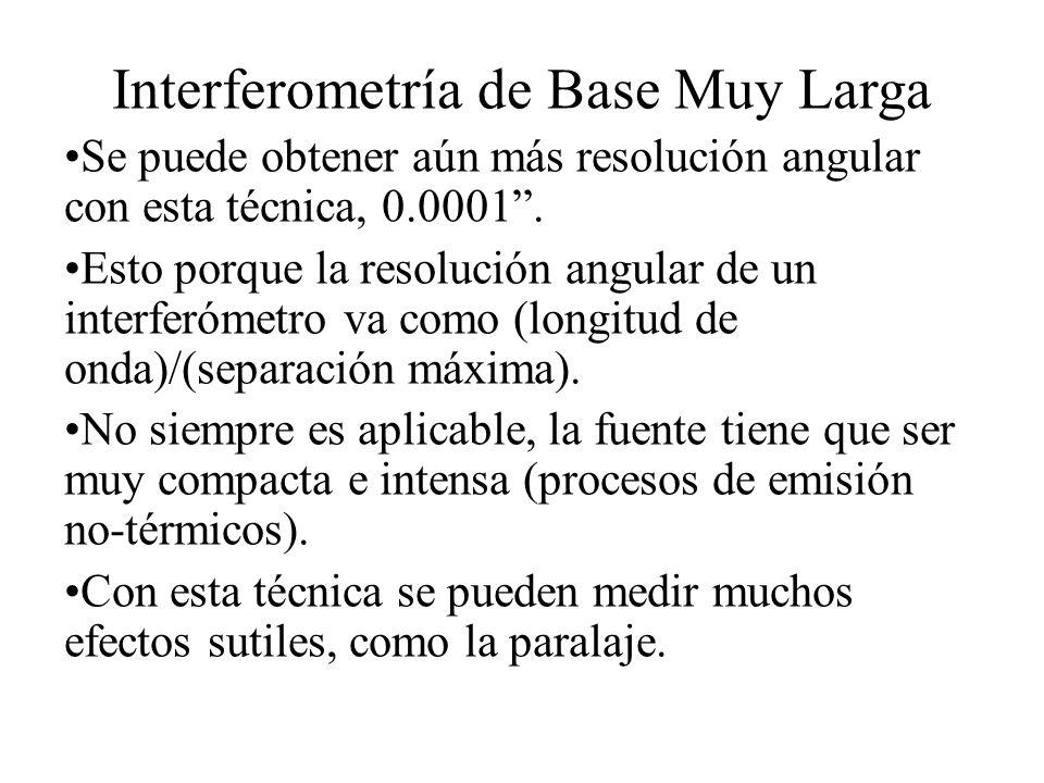 Interferometría de Base Muy Larga Se puede obtener aún más resolución angular con esta técnica, 0.0001.