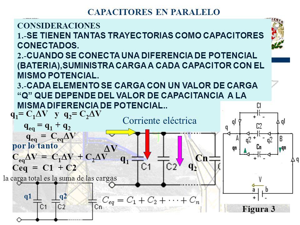 CAPACITORES EN PARALELO CONSIDERACIONES 1.- SE TIENEN TANTAS TRAYECTORIAS COMO CAPACITORES CONECTADOS.