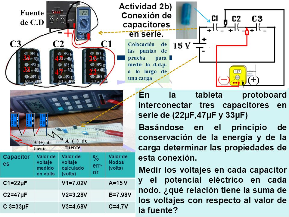 Actividad 2b).Conexión de capacitores en serie.