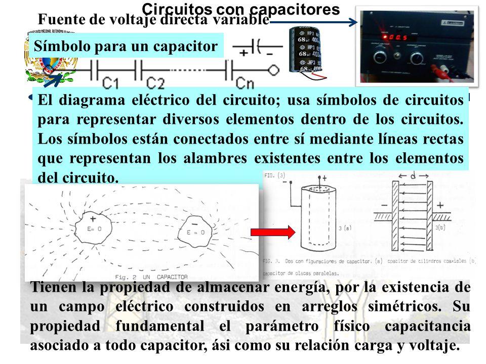 Circuitos con capacitores Fuente de voltaje directa variable Símbolo para un capacitor El diagrama eléctrico del circuito; usa símbolos de circuitos para representar diversos elementos dentro de los circuitos.