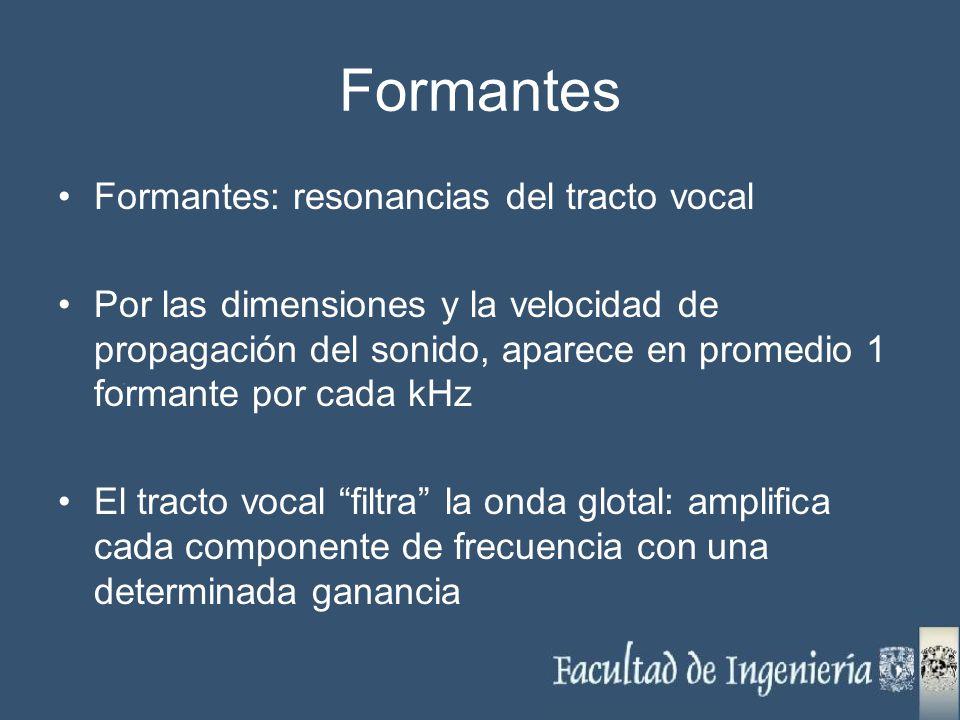 Formantes Formantes: resonancias del tracto vocal Por las dimensiones y la velocidad de propagación del sonido, aparece en promedio 1 formante por cad