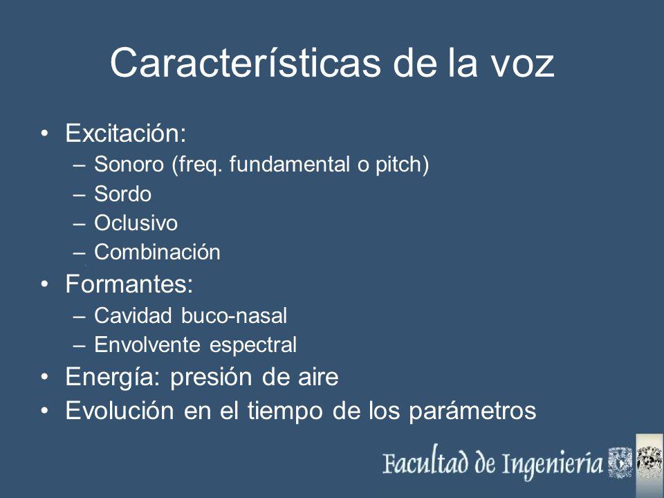 Características de la voz Excitación: –Sonoro (freq. fundamental o pitch) –Sordo –Oclusivo –Combinación Formantes: –Cavidad buco-nasal –Envolvente esp