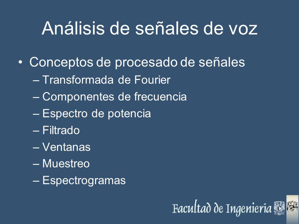 Análisis de señales de voz Conceptos de procesado de señales –Transformada de Fourier –Componentes de frecuencia –Espectro de potencia –Filtrado –Vent