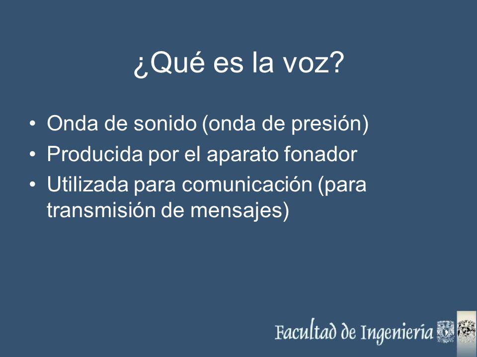 ¿Qué es la voz? Onda de sonido (onda de presión) Producida por el aparato fonador Utilizada para comunicación (para transmisión de mensajes)